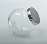 Glass jar with 2bottom with metal lid