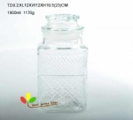 glass jar with embossed design
