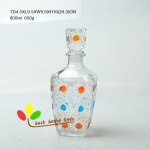 Glass wine bottle 1L with hand painted